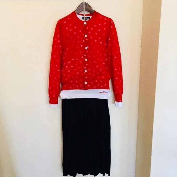 **new item☆**赤のドットカーディガンプリーツスカート***