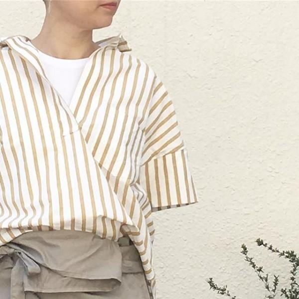 *new item♪**浜松で生産された綿素材のストライプシャツは非常に高密度で織り上げることでストライプの部分のカラーがとても綺麗に出ているのが特徴です。**