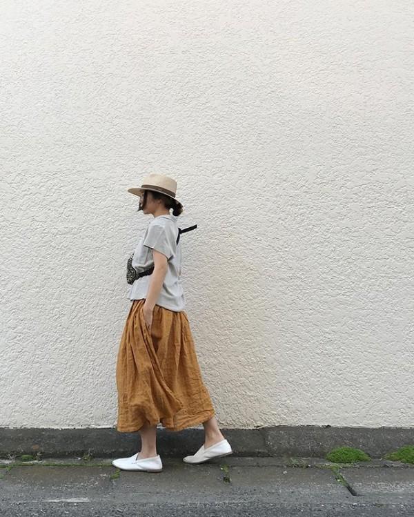 **実は巻きスカートになってて。可愛いんですアルテポーペラ*Yellow,Orange¥14000*トップスはタオル地。**