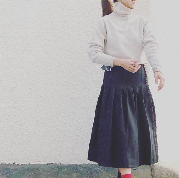 *new iten♪**今日はキルトのブラックのスカートにタートル!軽いフリースのジャケットはamenのもの。 **