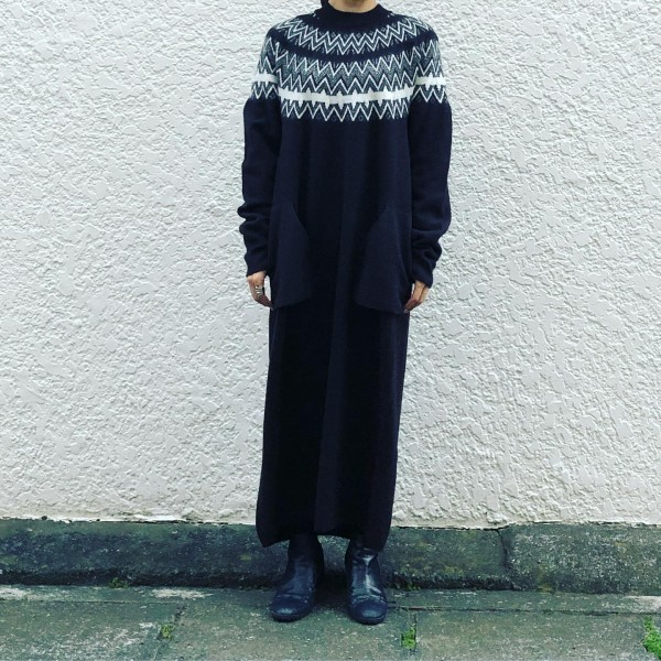 ***ノルディックワンピース北欧に古くから伝わる模様を編み込んだセーターレトロな雰囲気を感じます。onpiese ¥36000